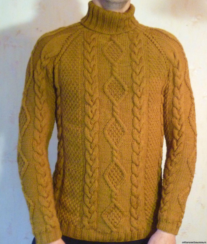 Вязание мужского свитера реглан сверху