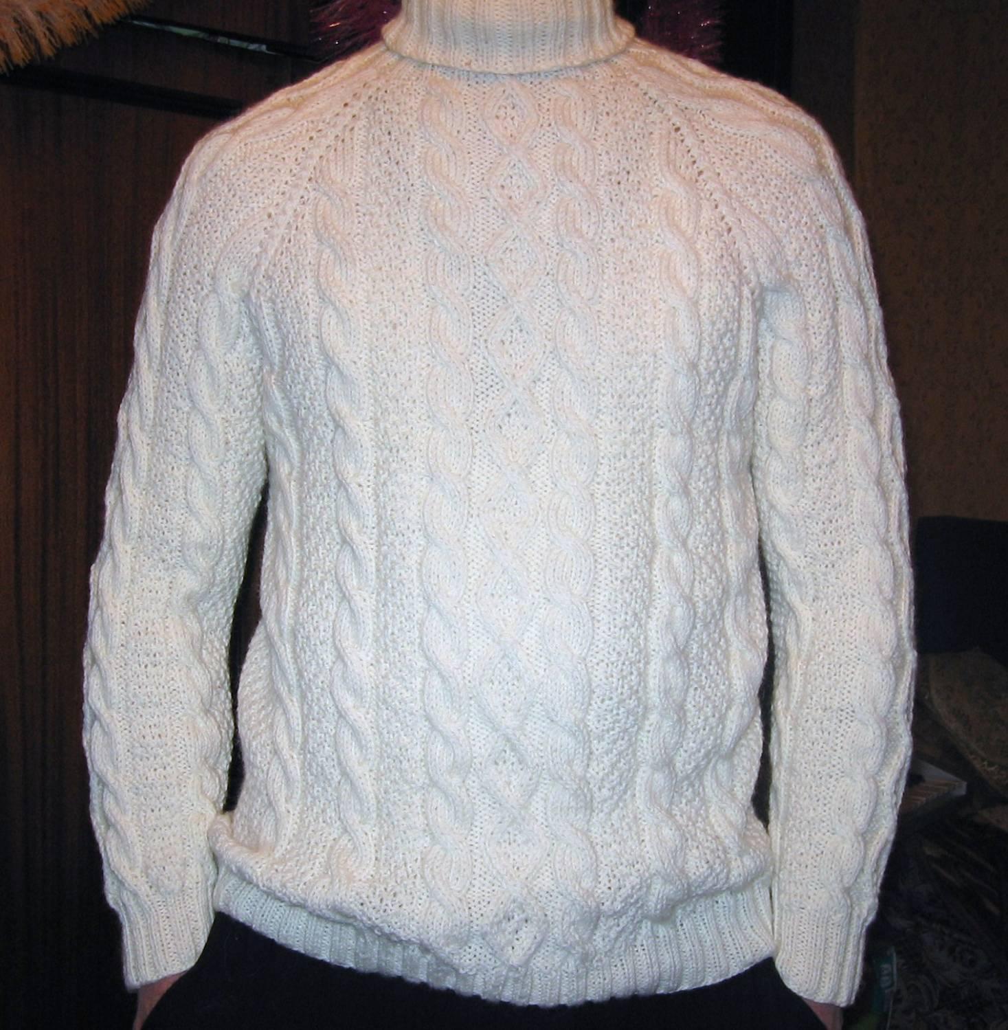 Deadomybplanettex Белый вязаный мужской свитер
